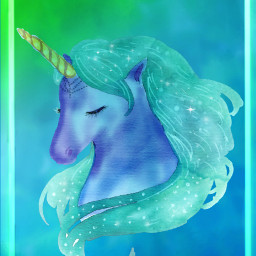 freetoedit fantasyart unicorn watercolors teal
