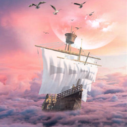freetoedit ship moon mystic clouds