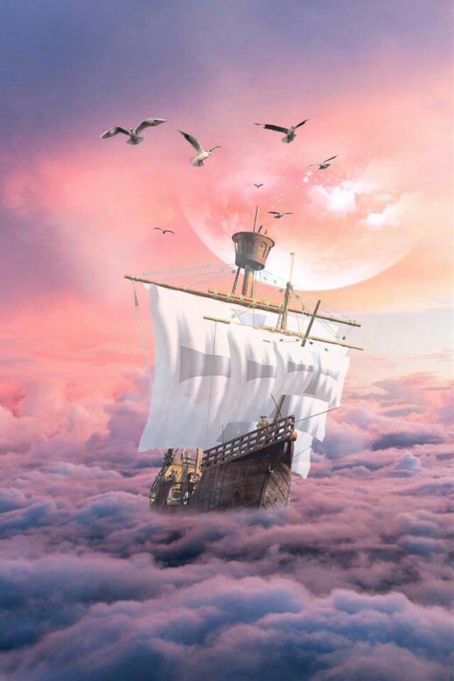 #freetoedit #ship #moon #mystic #clouds #gulls