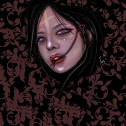 drawing portrait girl vampire horror