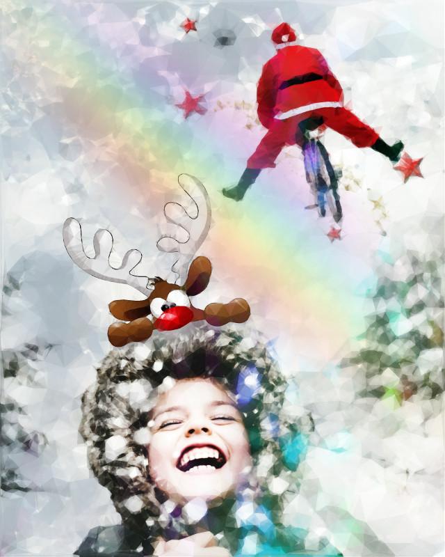 #freetoedit #santaclaus #elf #boy #happychristmas #polygon #neoneffect #arteffect
