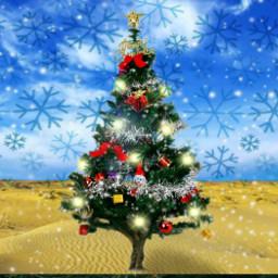 freetoedit christmastree christmas snow desert