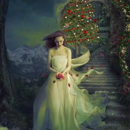 freetoedit woman christmastree garland castle