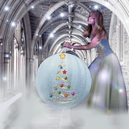 freetoedit cathedral christmasornament lights woman fog mystical fantasy
