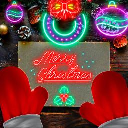 freetoedit neonchristmasstickers neoneffect santaclausgloves editstepbystep ircchristmascard