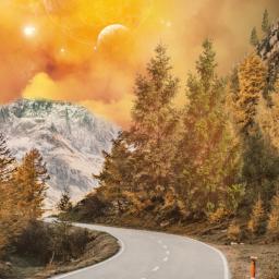 freetoedit landscape road mountain galaxy sky