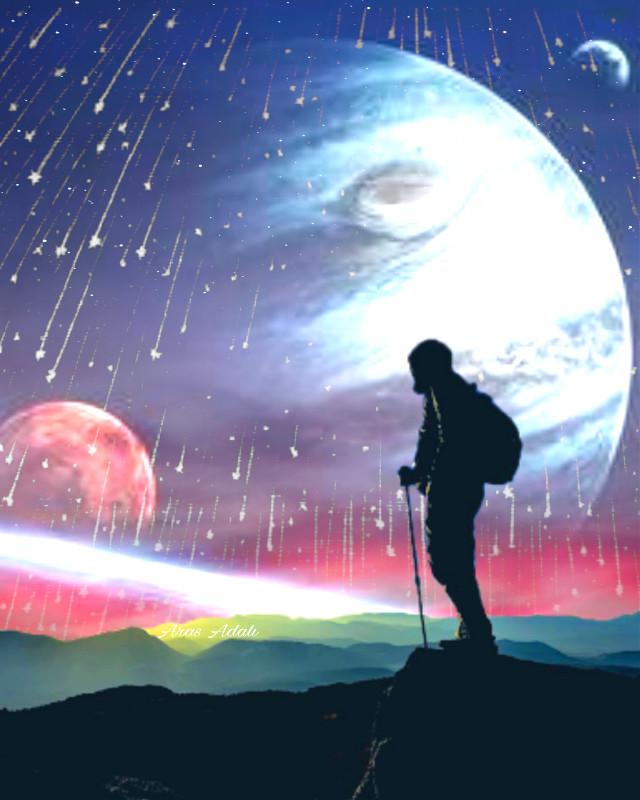#freetoedit @pa @freetoedit #planets #space #silhouette #meteor #mountain #climber #picsart #universe #madewithpicsart