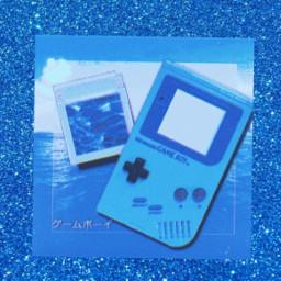 aestetic blue glitter nintendo gameboy freetoedit