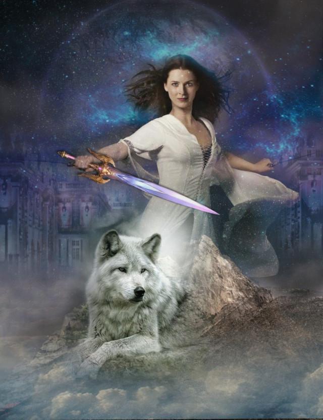 #freetoeditnot #donotedit #fantasy #wolf #clouds #sword #woman #mountain #castle #moon OP of woman from Bing #ircmarvelousandmajestic #ecfiercewomen