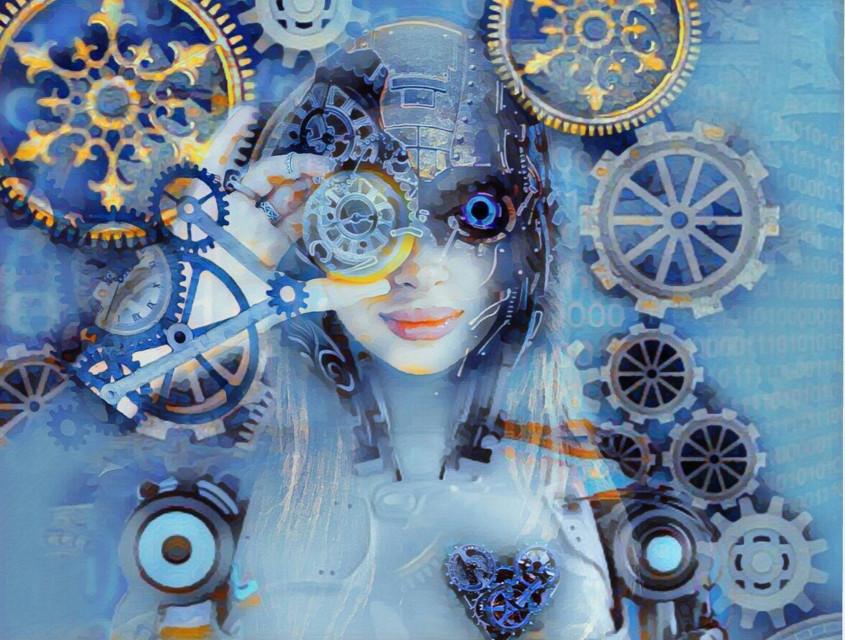 #freetoeditnot #donotedit 5th place!! OP from Bing #robot #gears #winterbluesmagiceffect #woman #blue #irclemonart