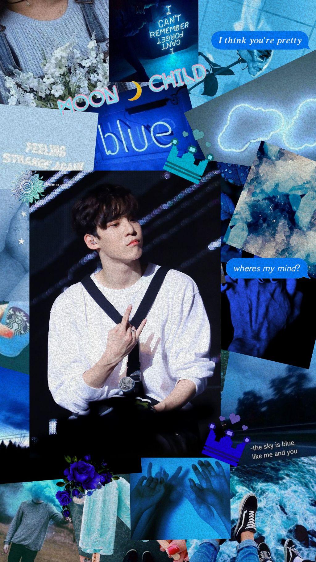 Freetoedit Kpop Kq Ateez Yunho Edit Wallpaper Blue