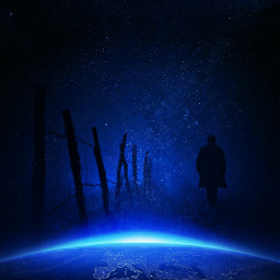 planetearth outerspace fence man silhouette freetoedit