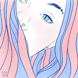 freetoedit outline blue pink girls