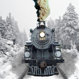 freetoedit train smoke snow tracks ircthepathlesstaken