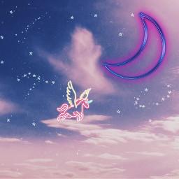 freetoedit neon moon unicorn neonstarbrush