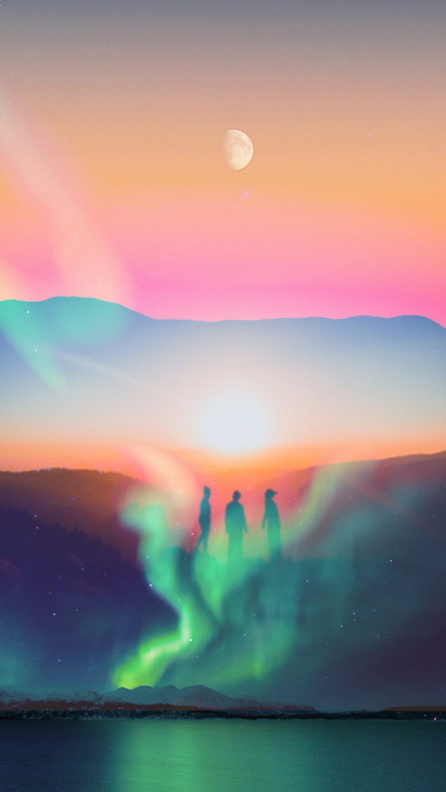 #doubleexposure #overlay #silhouette #galaxy #sunset #mountains #moon #lake #lights #blue #orange #colors -- might delete in 0.2 seconds