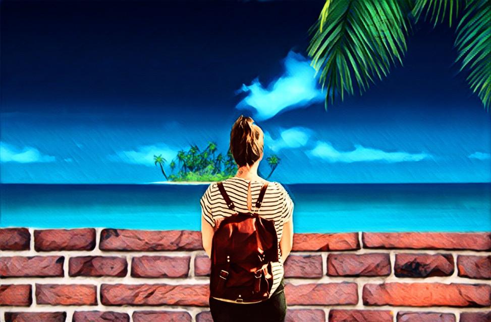 #freetoedit #Palmtree #palm #beach #woman #sea #island #Wall #Sun #summer #summerday #Watch #clouds #sky #bluesky #blue #green #tbgraphics