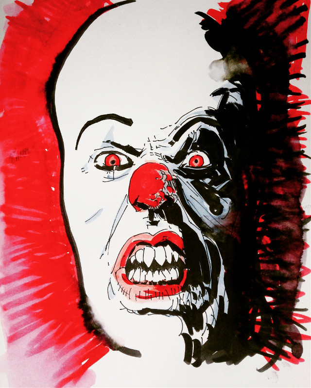 Pennywise... #drawing #watercolour #theprometeus #brushpen #pennywise #timcurry #it #illustration