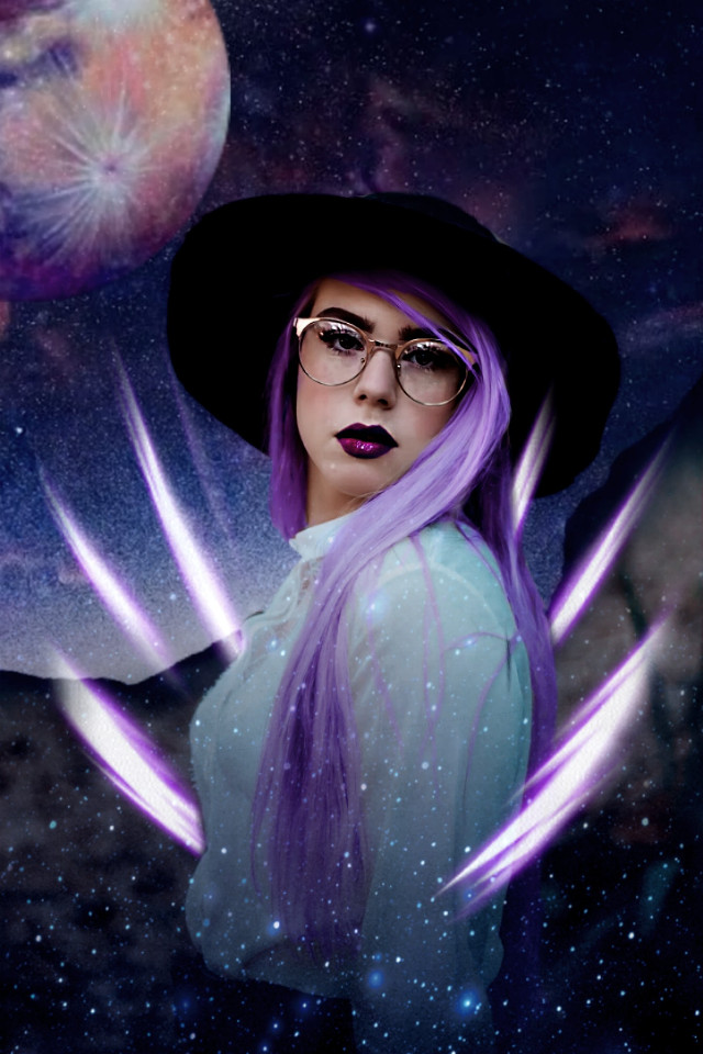 #freetoedit #galaxy #witch #power #girl #woman #purple #purplehair #glasses #hat #forest #magic #magicgalaxycontest #magical