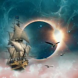 freetoedit moon eclipse clouds ship irctotallunareclipse