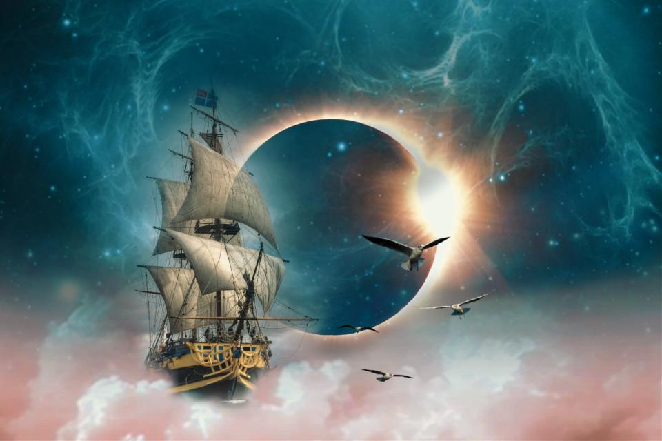 #freetoedit #moon #eclipse #clouds #ship#irctotallunareclipse
