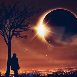freetoedit eclipse city silhouette stormeday irctotallunareclipse