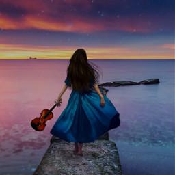freetoedit violin sea beautiful girl