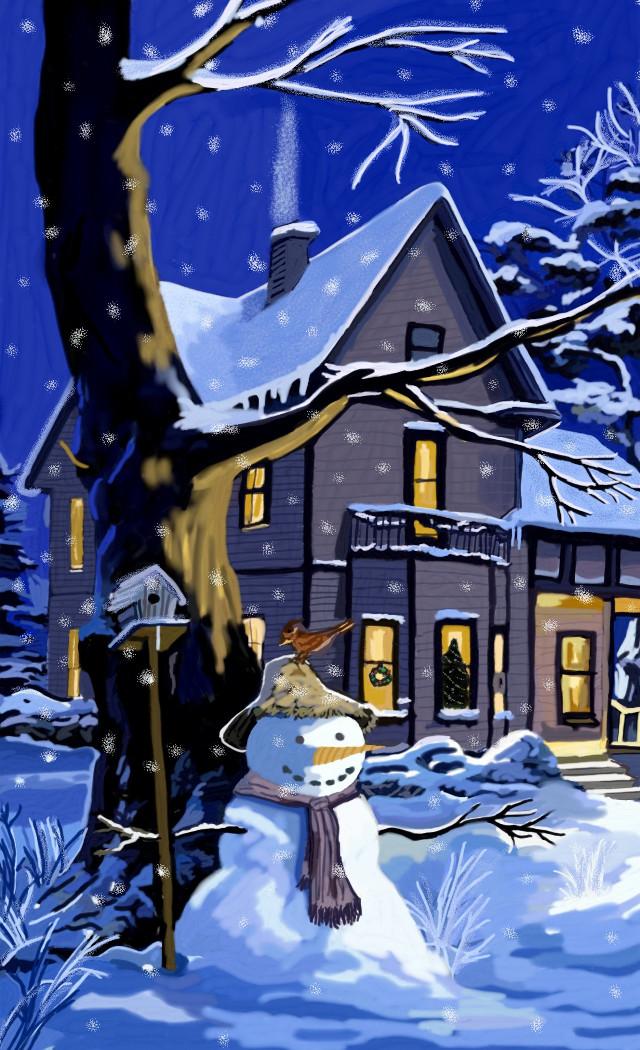 Last but not least 🌨 winter at home❄⛄#mydrawing #freetoedit #snowman #house #garden #snow #winter #winterwonderland #cold #myart