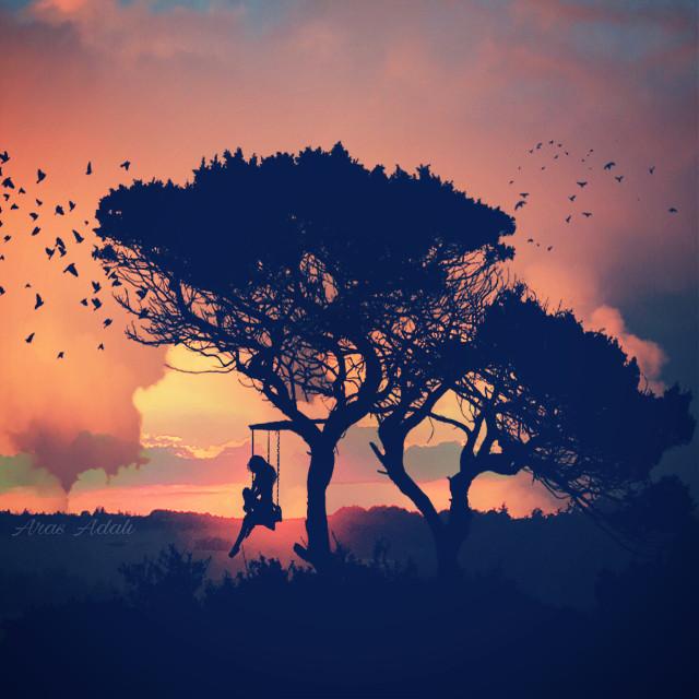 #freetoedit @pa @freetoedit #silhouette #nature #swing #trees #birds #people