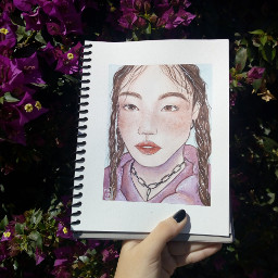 freetoedit girl watercolor picture draw