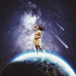 freetoedit vipshoutout girl walking galaxy
