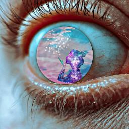 freetoedit eyes girls moon rainbows