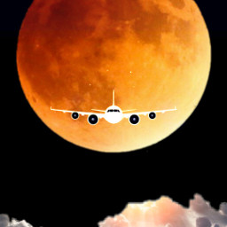 freetoedit sky plane orange yellow