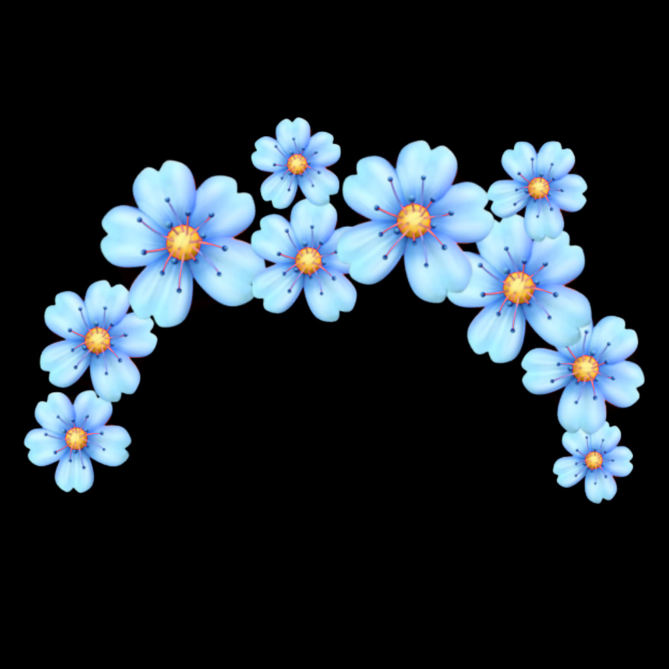 """Blue Flowers Flower Crown Sticker By Н""""¢ Nemyy"""