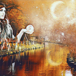 freetoedit woman river riflesso planets srcpolarvortex