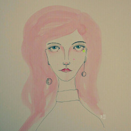 drawing pencil watercolor pink woman