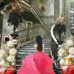 freetoedit woman eveninggown mansion whiteflowers ircpinkrose