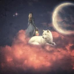freetoedit moon clouds stars nightsky