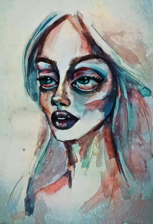 #freetoedit #bigeyes #cute #girl #myillustration #acuarela #acuarella #painting #art #work