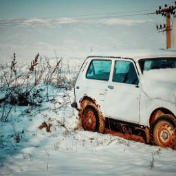 myphotography car oldcar snow winter freetoedit