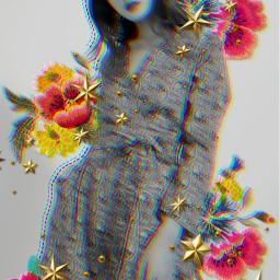 freetoedit blackandwhite flowers glitcheffect glitch