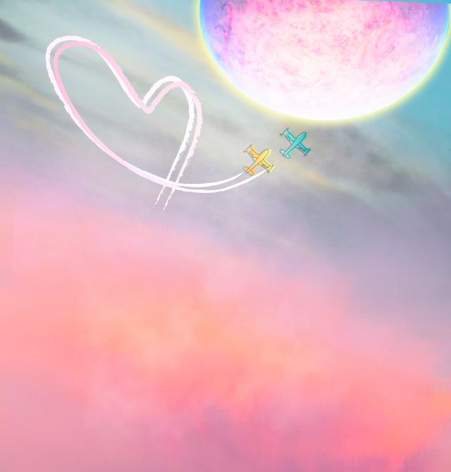 #freetoedit #moon #clouds  #plane #love  #minimaledit #keepitsimple #pastelcolors #skylovers #stickerart  #blending #myedit #madewithpicsart