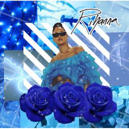 freetoedit blue aesthetic rihanna robyn