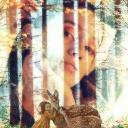 freetoedit woman forest girl deers