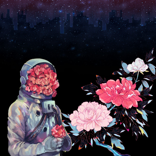 #freetoedit #space #galaxy #astronaut #flowers