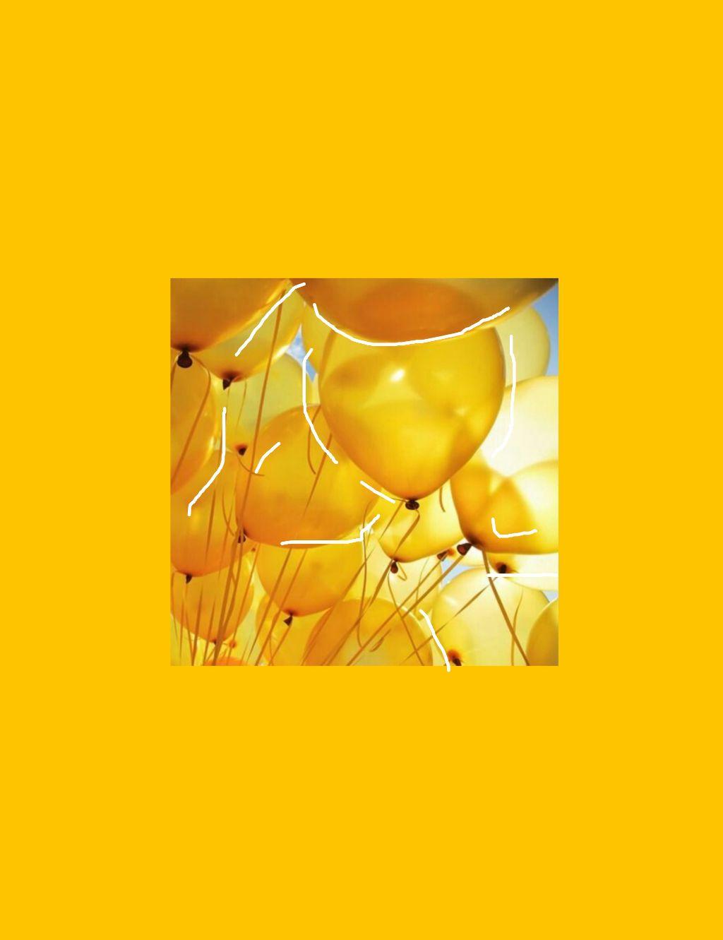 Yellow Yellowwallpaper Walpaper Aesthetic Balloons Yell