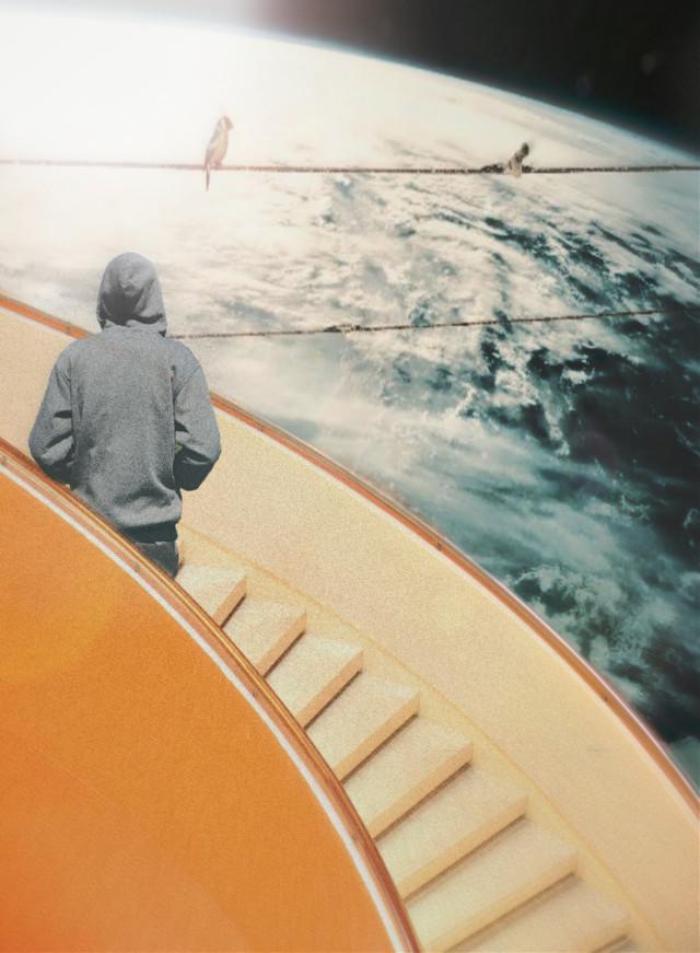 #freetoedit #back#man#space#earth#galaxy#lights#lensflare #stairs #dramaeffect #myremix
