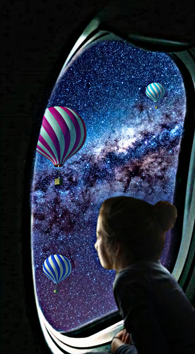 #freetoedit #girl #galaxy #stars #colors  #magiceffects #airballoon #airplane #pink #blue  @anaflaviayslaquiroz