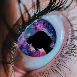 freetoedit eye galaxy girl shilouette