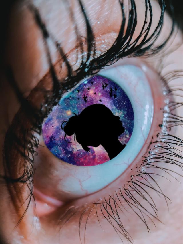 #freetoedit #eye #galaxy #girl #shilouette